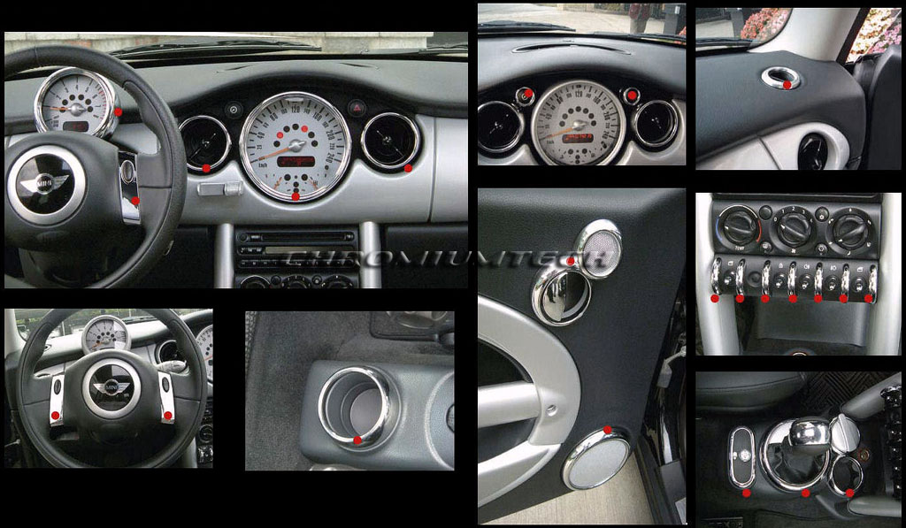 chrome interior dial kit for 2001 2006 bmw mini cooper s one r50 r52 r53 25pc ebay. Black Bedroom Furniture Sets. Home Design Ideas